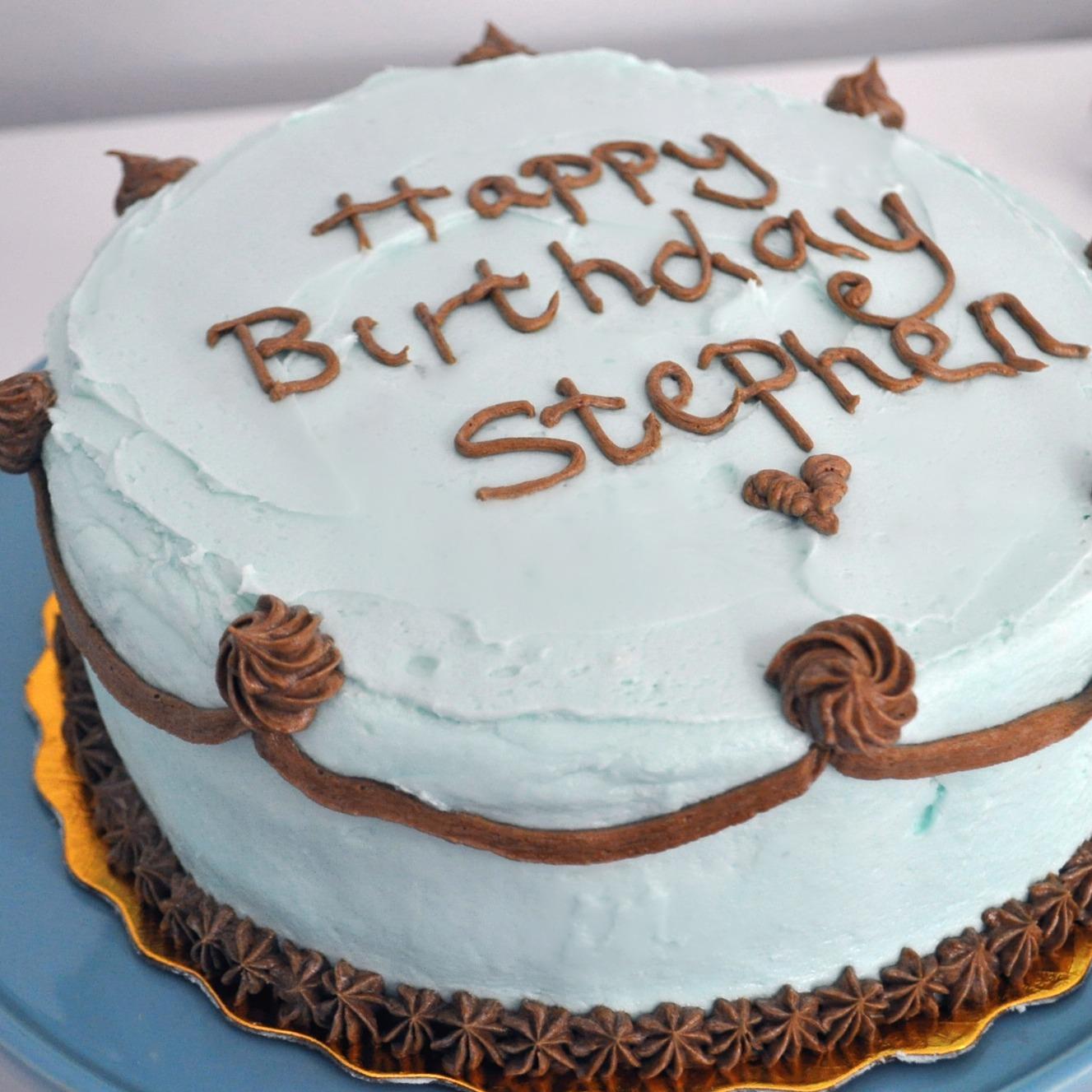 Crouching Mother Hidden Toddler Happy Birthday Hubby Cake