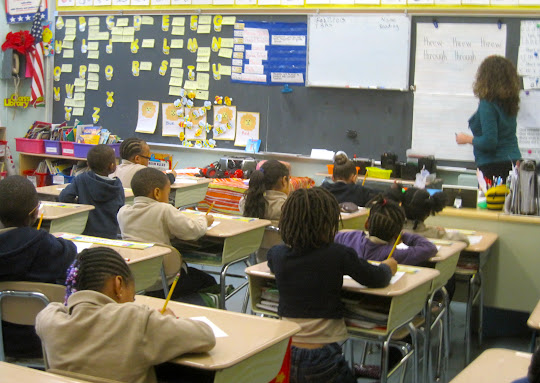 desks are usually grouped in clusters 1st graders sit in rows