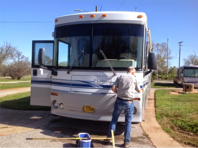 Cleaning front of motorhome