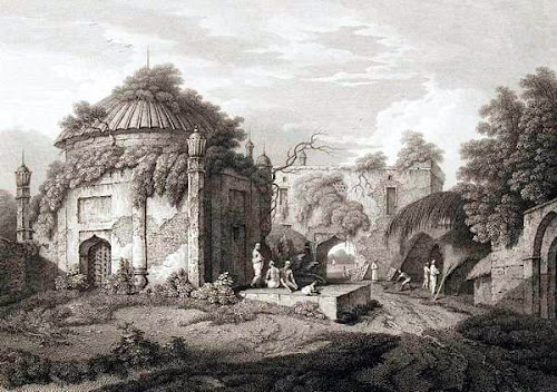 Now ruined Chhoto Kutra with enclosed tomb by Charles D'oyly in 1817.