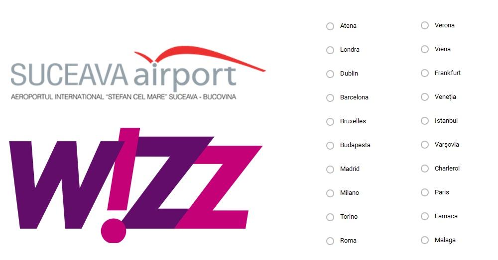 Wizz Air va opera zboruri dinspre Suceava spre noi destinații din vestul Europei, din primăvară