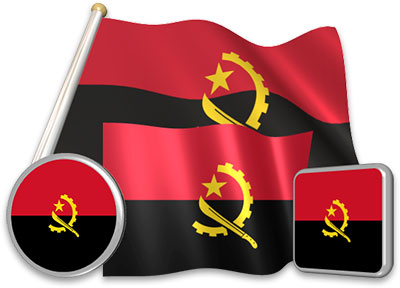Angolan flag animated gif collection