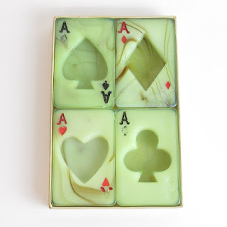 Slag Glass Playing Card Suit Ashtrays Set of 4