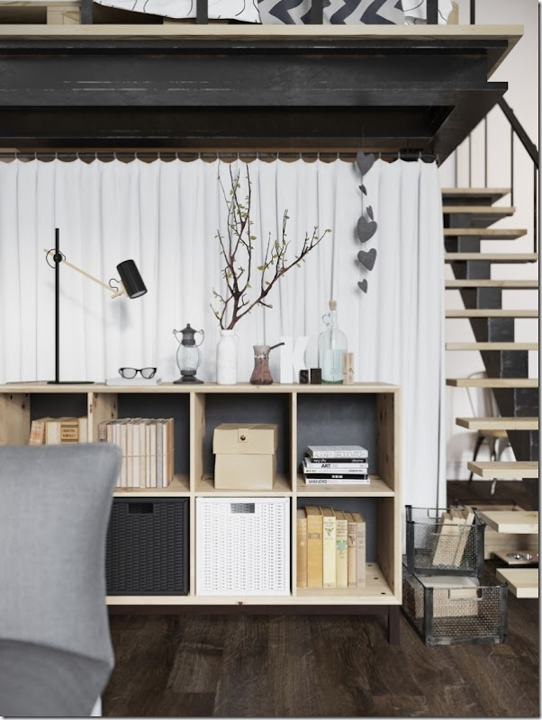 case e inetrni - mini loft praga - stile scandinavo (9)