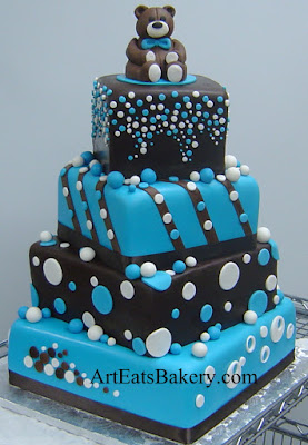 Exceptional Three Tier Chocolate Brown And Blue Polka Dot Boy Baby Shower Cake With  Edible Teddy Bear