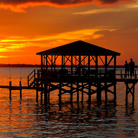 Sandy Hook sunset by Drew Tarter - Buildings & Architecture Bridges & Suspended Structures ( pier, sunset, fishing, bay, scenic, water )