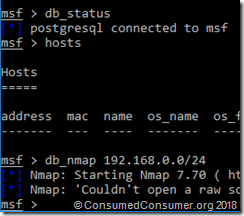 Screencap of Nmap attempt with this error message: Nmap: 'Couldn't open a raw socket. Error: Permission denied (13)