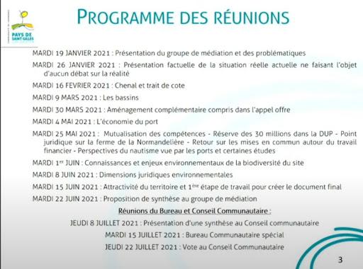 Médiation : Programme des réunions