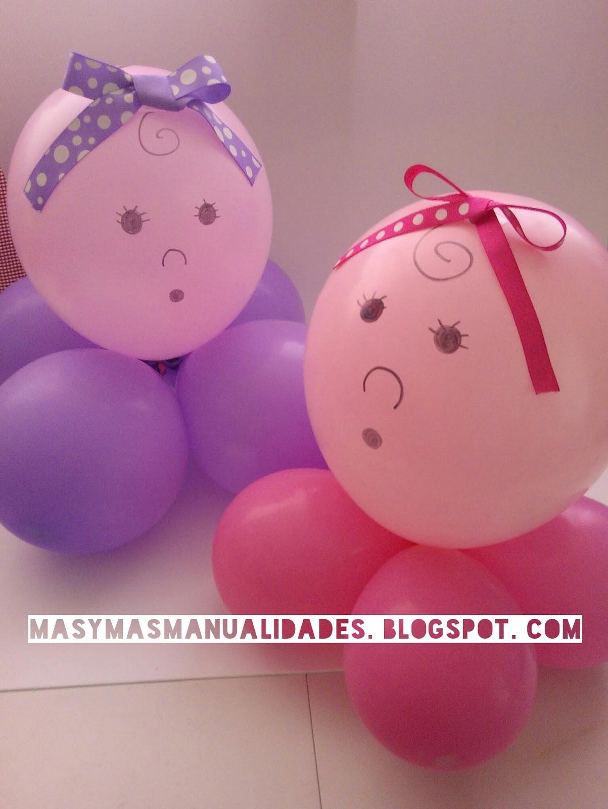 más y más manualidades Centros de mesa para baby shower con 5 globos