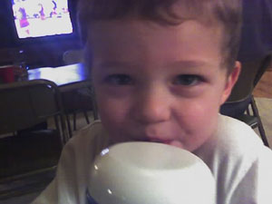 A photo Kellen drinking his juice. Photo taken on March 3, 2007.