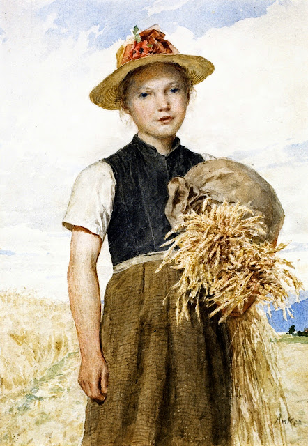 Albert Anker - Girl with Sheaves