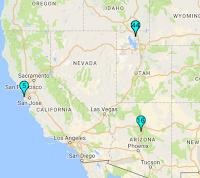 Locations of: W6DRZ Receiver at Half Moon Bay; W7RNA Receiver at Sedona, AZ; Northern Utah Receiver
