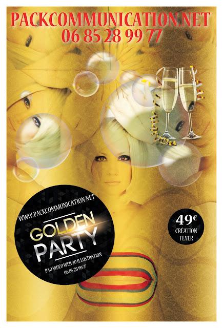 création flyers soirées thème Golden Party