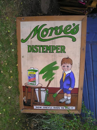 """Morse's Distemper  now they will have to use it #2 w frame size: 62x41""""   vintage: 1910"""