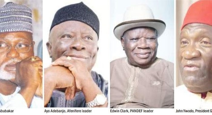 You can't dictate for us anymore, we're not fools - PANDEF, Afenifere, Ohanaeze, Middle Belt blasts North