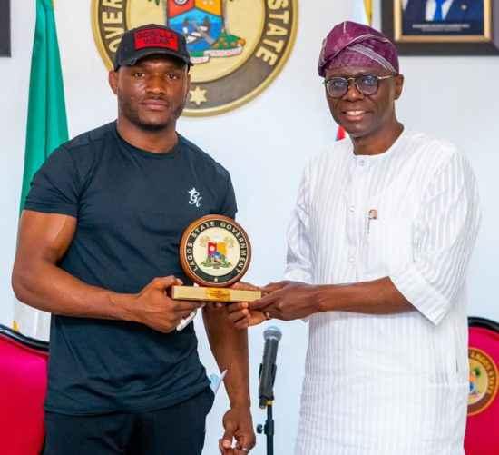 Gov. Babajide Sanwo-Olu Receives UFC Welterweight Champion, Kamaru Usman In Lagos (See Photos)