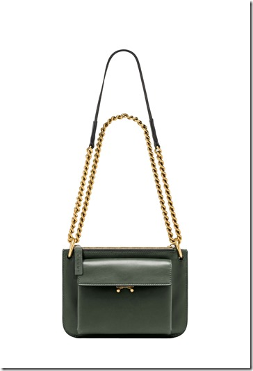 MARNI POCKET BAG in green leather