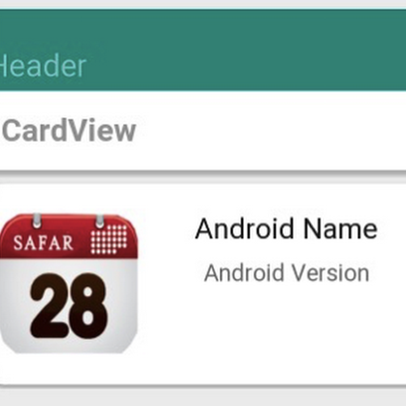 How to add header and image in CardView Material Design