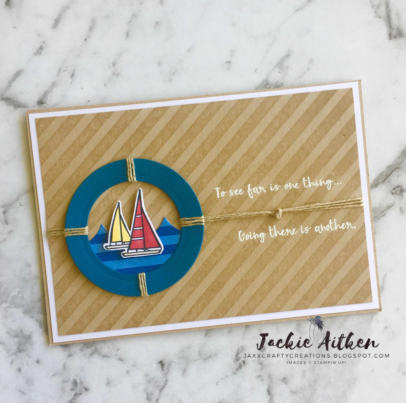 lilypad lake, stampin up, nautical card, blueberry bushel dsp