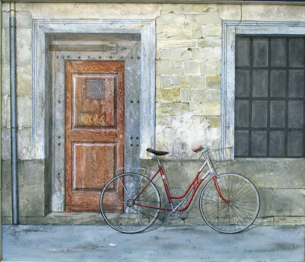 Im genes arte pinturas la puerta con bicicleta oleo lienzo for Puertas para casas antiguas