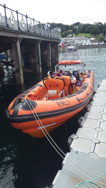 Poole inshore lifeboat tied up on the pontoon at Swanage - 16 August 2015.  Photo credit: Dave Riley