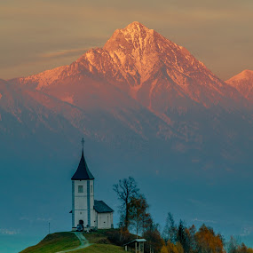 Sunset by Mario Horvat - Landscapes Mountains & Hills ( clouds, mountains, sky, grass, green, slovenia, jamnik,  )