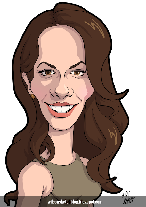 Cartoon caricature of Kate Beckinsale.