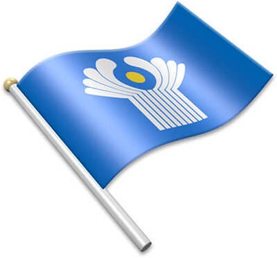 The CIS flag on a flagpole clipart image