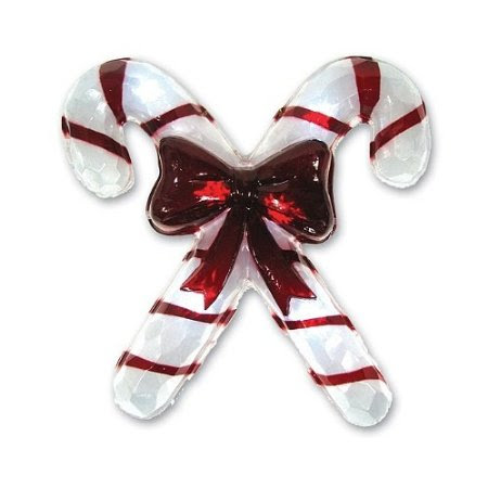 Battery-Operated Icy Window Hanger with Twinkling LED Lights - Candy Cane
