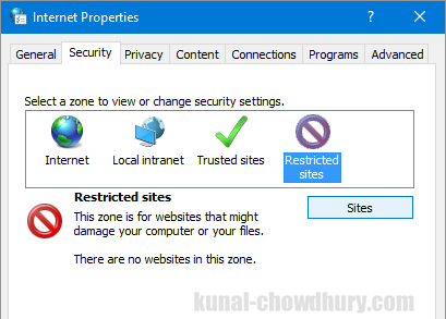 Internet Properties - Security - Restricted Sites (www.kunal-chowdhury.com)