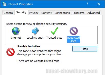 Internet Properties - Security - Restricted Sites (www.kunal-chowdhury.com)