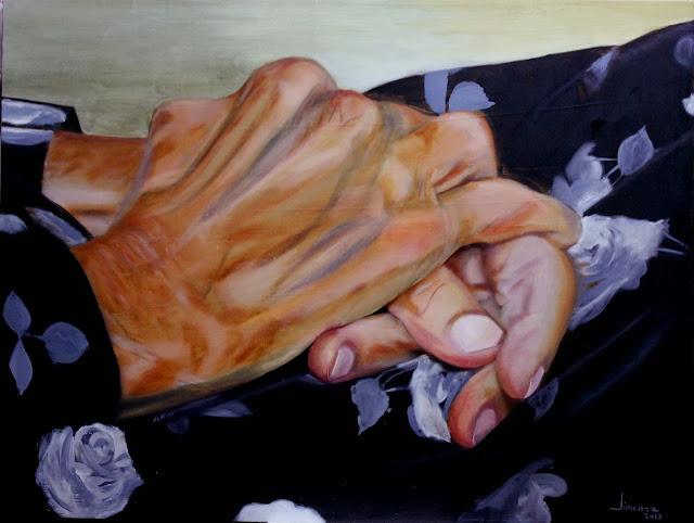 Manos de una anciana,pintura al óleo de Oscar Jiménez