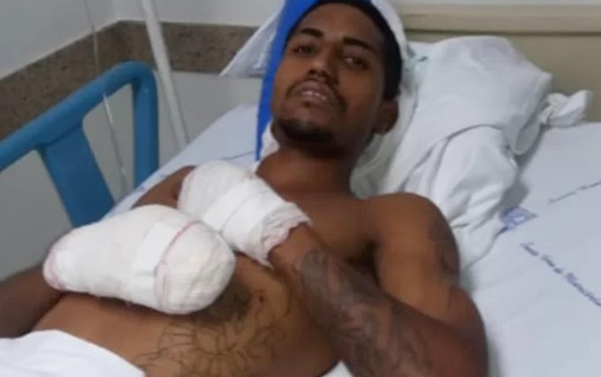 MEGA-ASSALTO: Jovem que teve os pés decepados em explosão deixa o hospital
