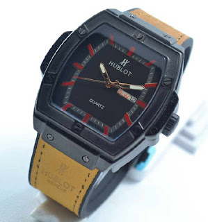 jam tangan HUBLOT date day brown rubber red