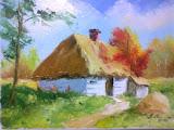 stara chata, olej, płótno, 30x40 cm