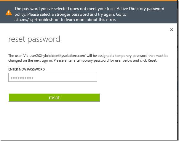 Azure Password Reset – The Password you've selected does not meet