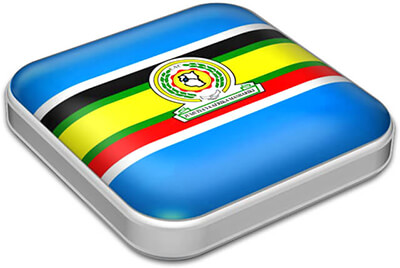 Flag of East African Community with metallic square frame