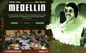 mockup web page for Medellin with Vincent Chase and Billy Walsh named. At bottom, image of dead on market square. At right Vincent Chase playing Escobar holding gun in relief.
