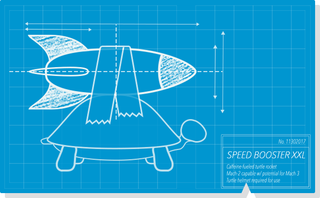 A blueprint of a turtle with a rocket taped to its shell.