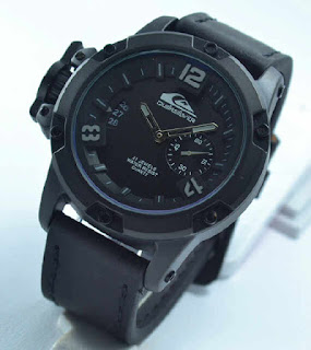 jam tangan  Quiksilver chrono second black leather grey