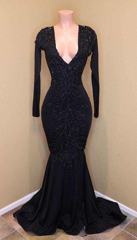 Black African print prom dress designs 2019 1
