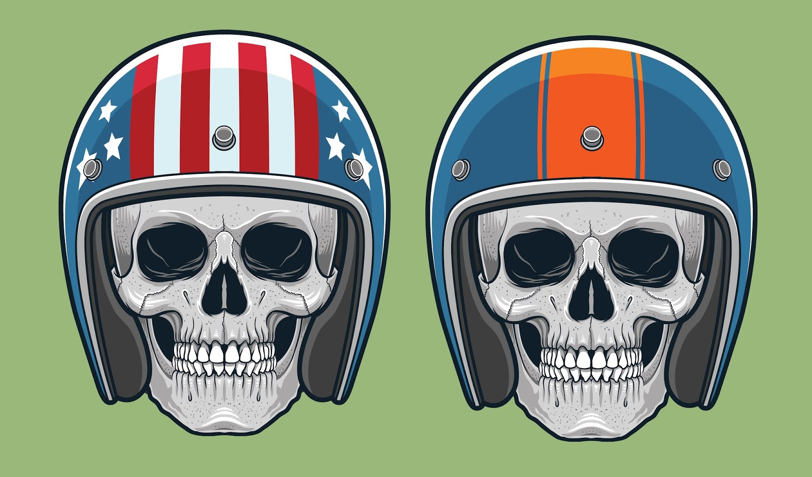 Skulls With Vintage Racing Free Download Vector CDR, AI, EPS and PNG Formats
