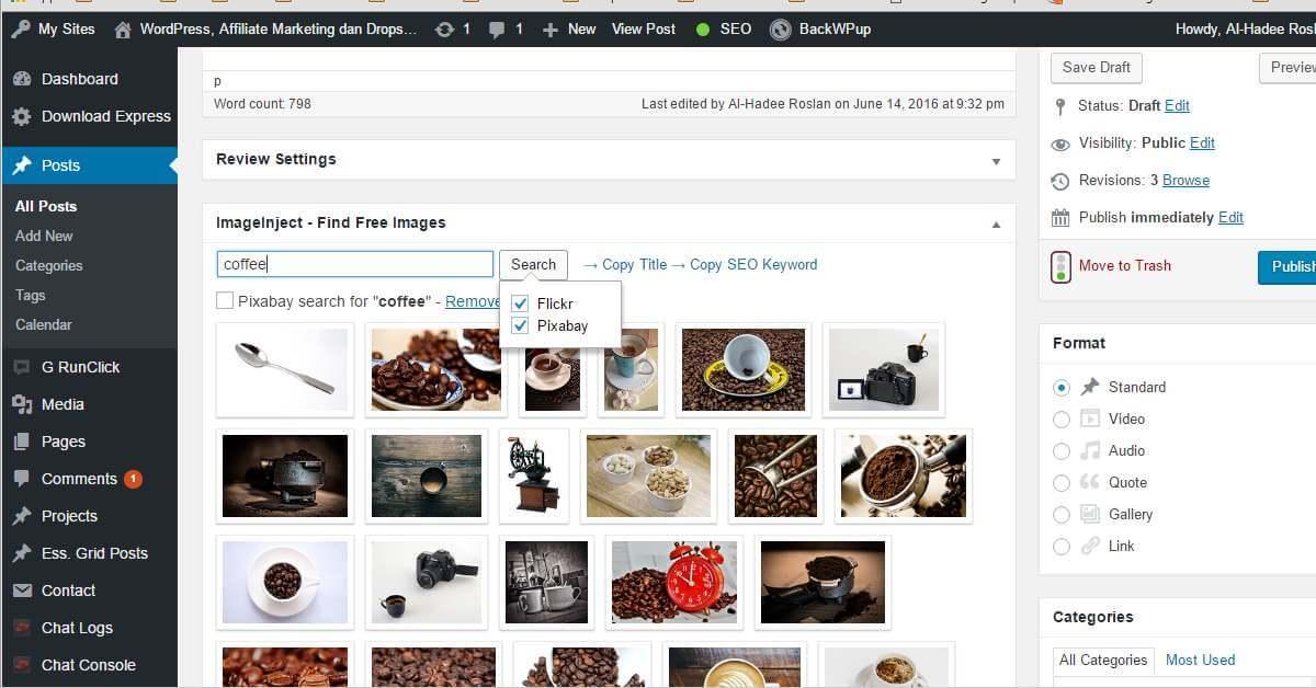 Gambar Percuma Untuk Blog WordPress Dari Flicker dan Pixabay Dengan Plugin ImageInject