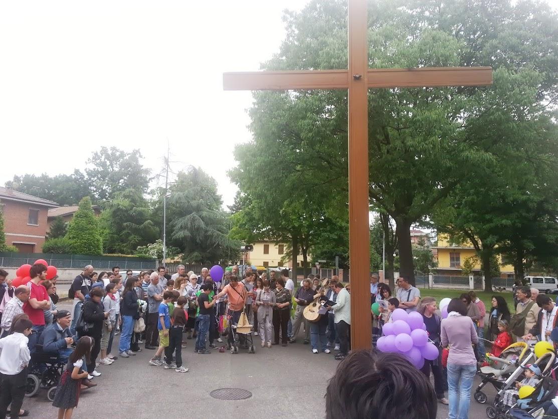 Un momento della Recita del Rosario