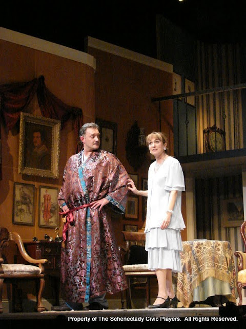 Randy McConnach and Benita Zahn in THE ROYAL FAMILY (R) - December 2011.  Property of The Schenectady Civic Players Theater Archive.