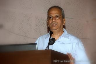 "Photo: Shri Bhanu Kale, Chief Editor Change for Better. Change for Better Release Function November 13, 2011. Shri. Suresh Prabhu, former Union Minister released ""Change for Better"" at HMCT Auditorium, Pune"