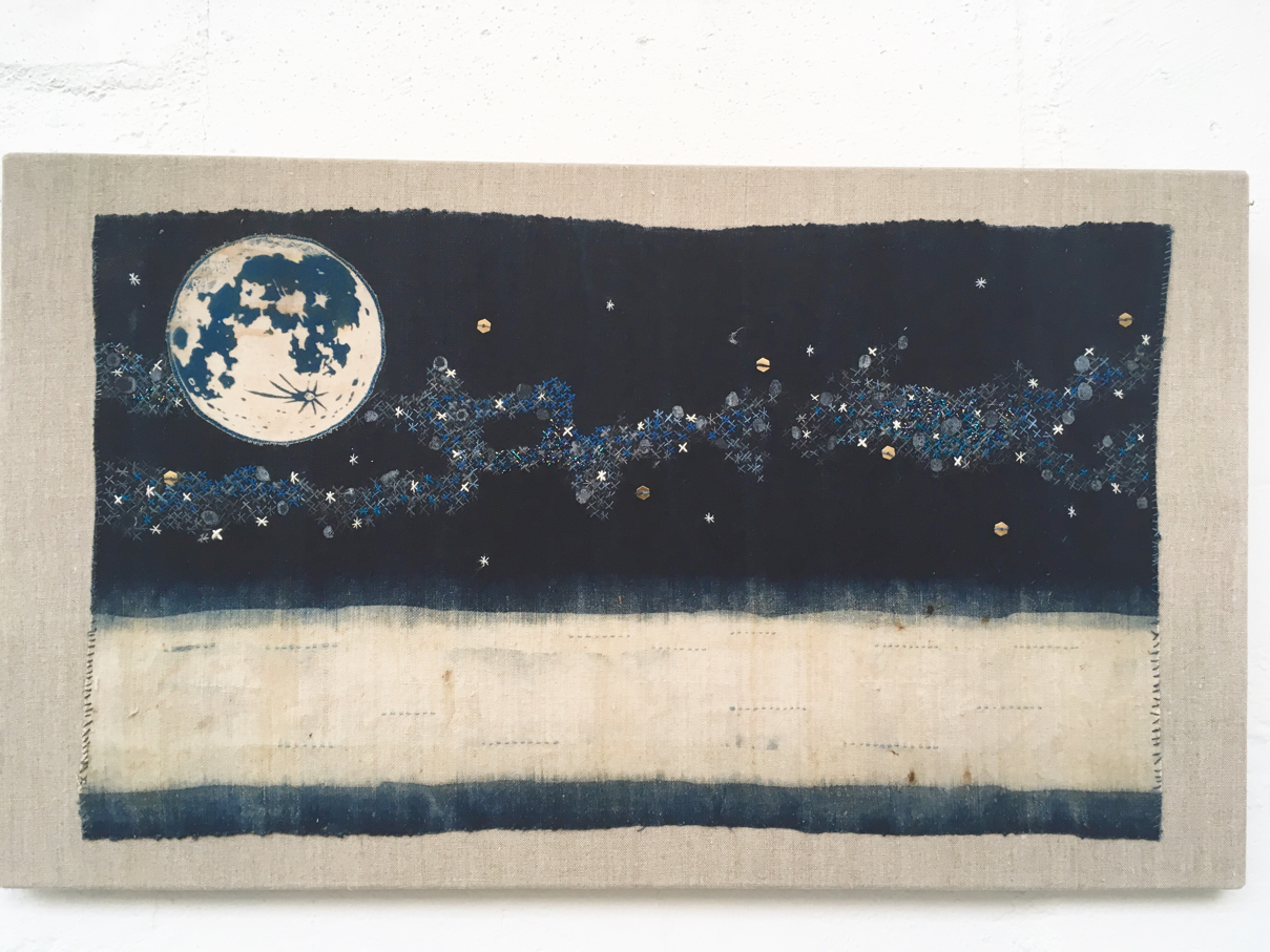 Orion's arm: dyed hemp with embroidery and cyanotype print.