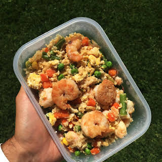 Shrimp, Veggies, & Cauliflower Rice.