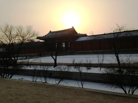 Sunset in Cold Winter
