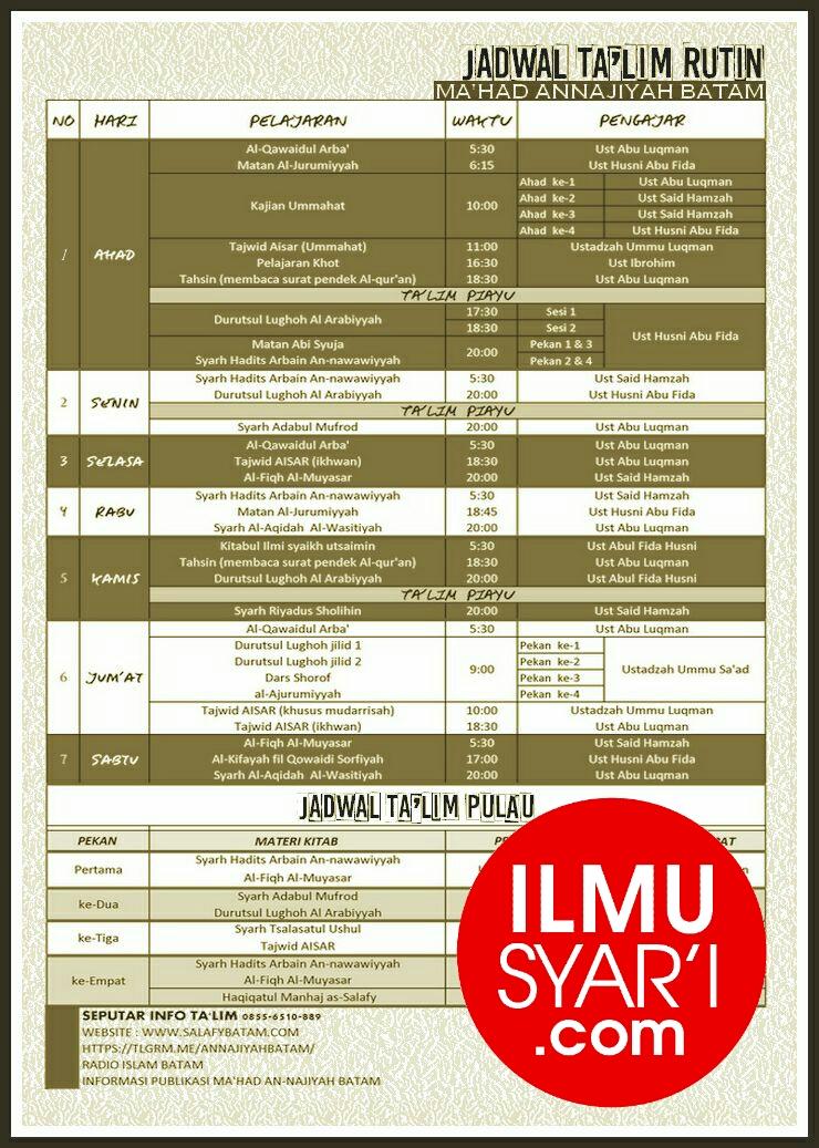 Informasi Jadwal Kajian Sunnah di Batam